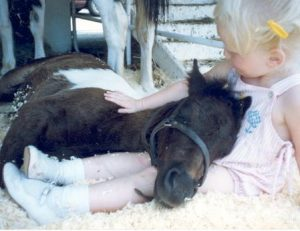 Me petting a baby pony.